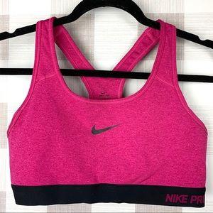 Nike Dri-Fit Pro Pink Black Sports Bra Sz Large
